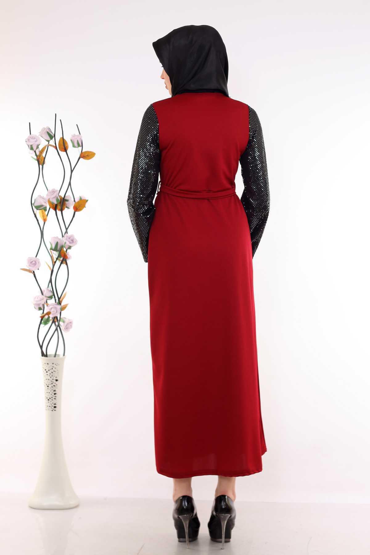 Modaminem Pullu Tesettür Elbise Modelleri