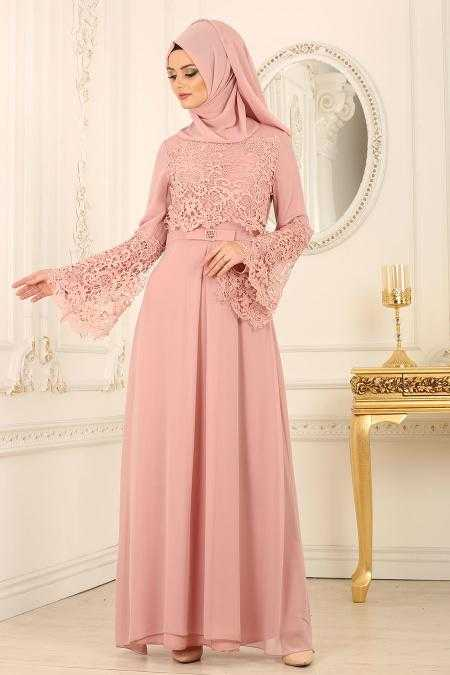 Nayla Collection Tesettür Pudra Renk Abiye Elbise Modelleri