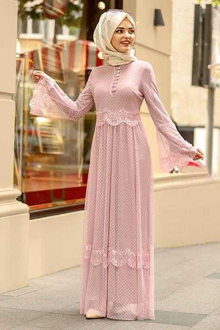 Nayla Collection Tesettür Pudra Renk Elbise Modelleri