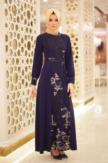 Neva Style Üç Boyutlu Şık Tesettür Abiye Elbise Modelleri