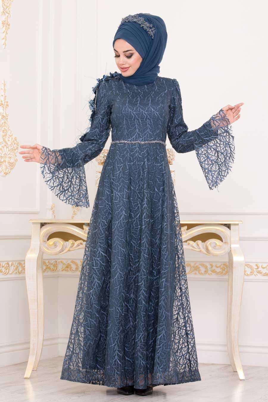 Neva Style Üç Boyutlu Tesettür İndigo Abiye Elbise Modelleri