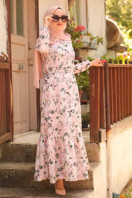 Neva Style Tesettür Pudra Renk Çiçekli Abiye Elbise Modelleri