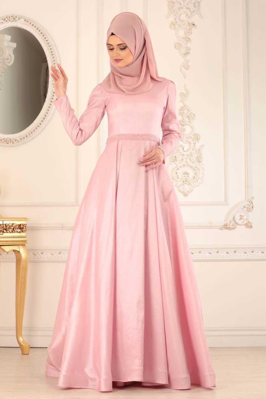 Neva Style Tesettür Pudra Renk Abiye Elbise Modelleri