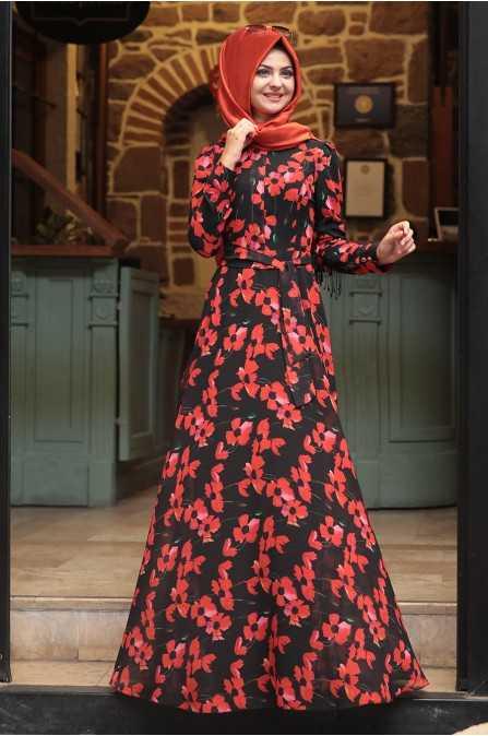 Pınar Şems Özel Gün Desenli Tesettür Elbise Modelleri