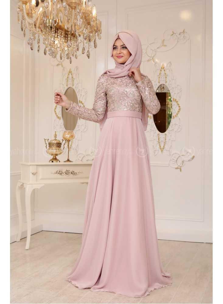 Pınar Şems Tesettür Pudra Renk Abiye Modelleri