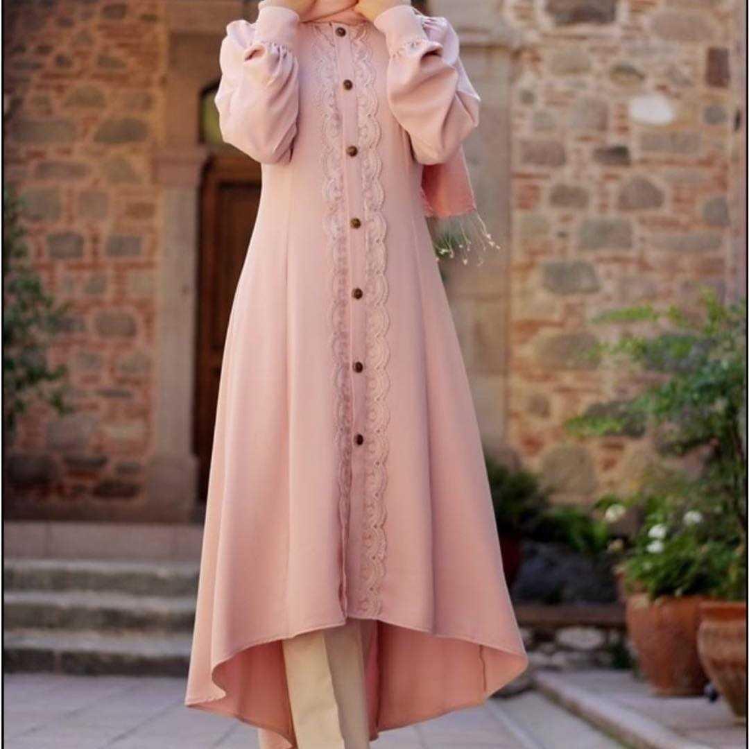 Pınar Şems Tesettür Pudra Renk Tunik Modelleri
