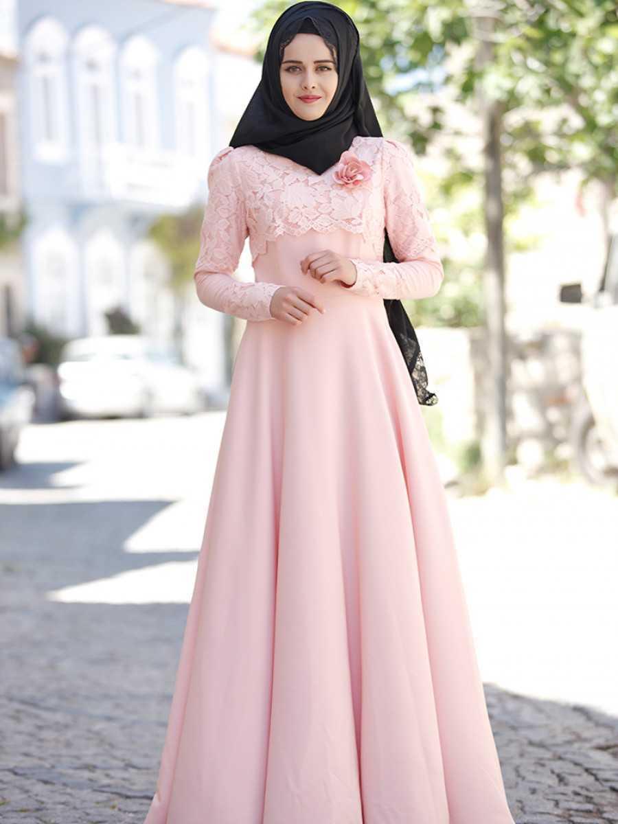 Piennar Tesettür Pudra Renk Elbise Modelleri