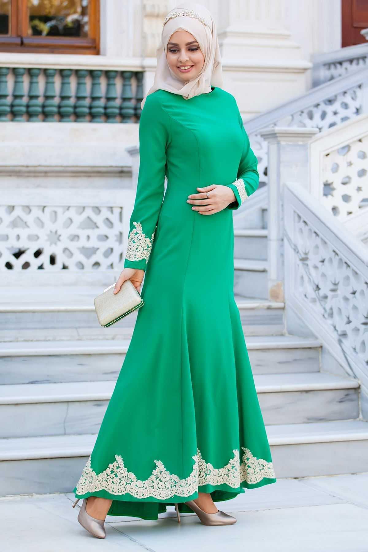 Sedanur Collection Tesettür Kuyruklu Abiye Elbise Modelleri