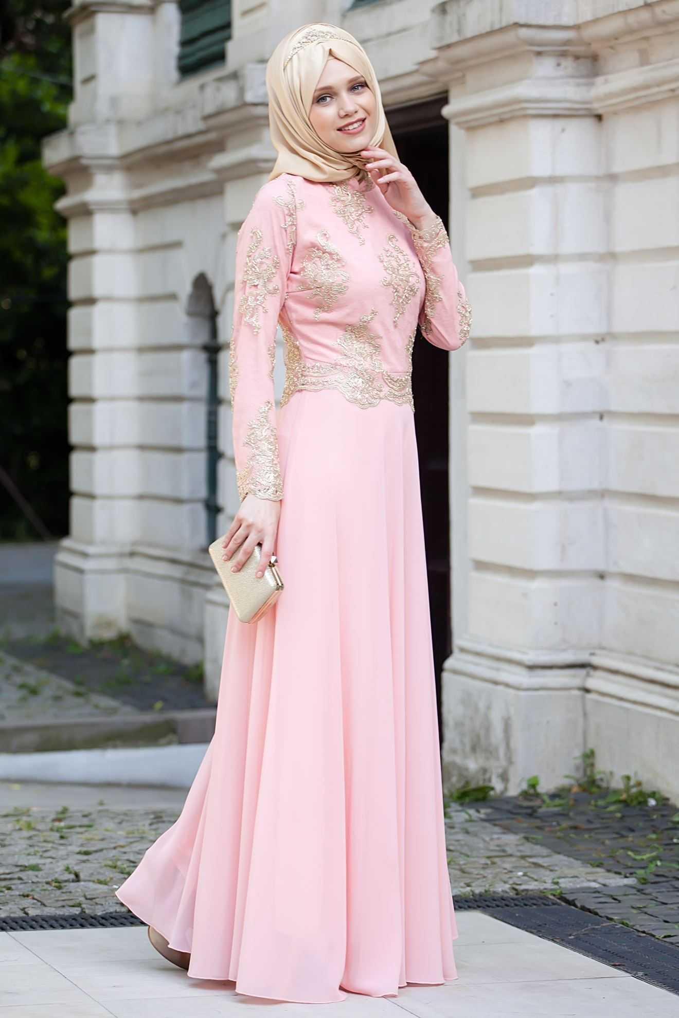 Sedanur Tesettür Pudra Renk Abiye Elbise Modelleri