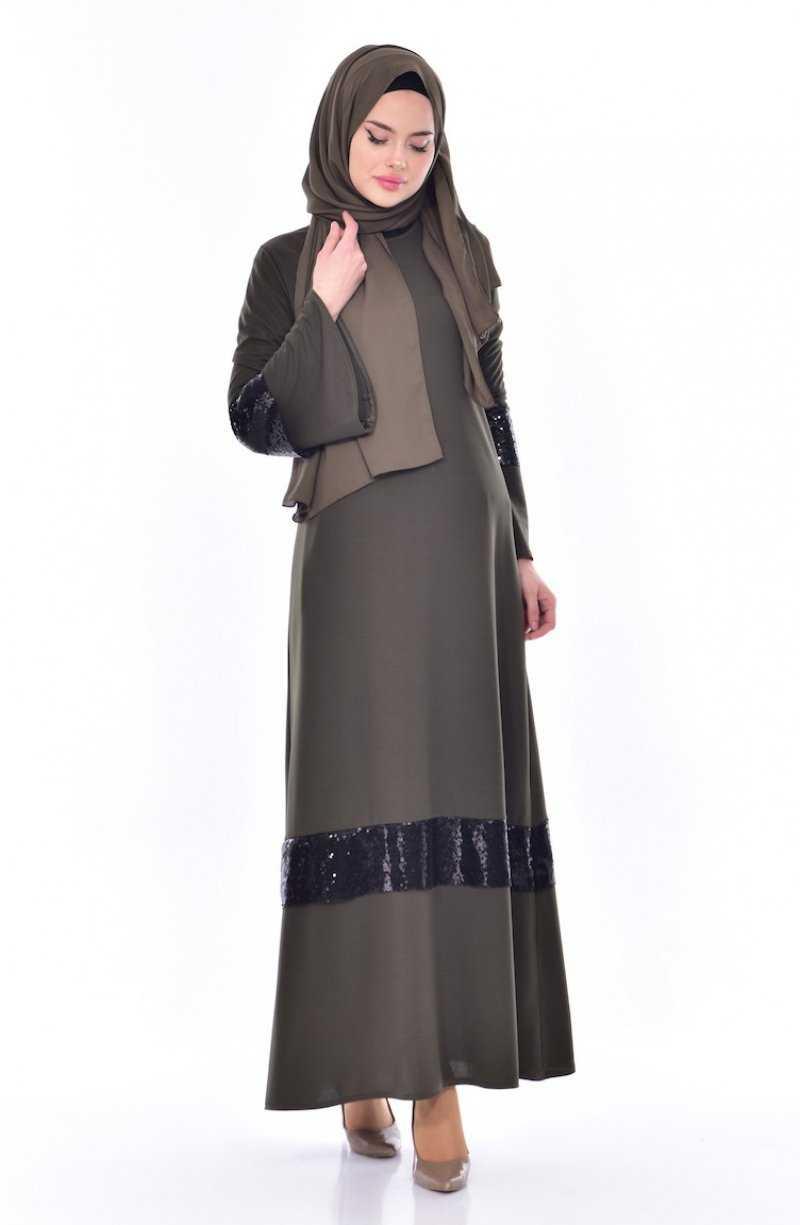 Sefamerve Pullu Tesettür Haki Elbise Modelleri
