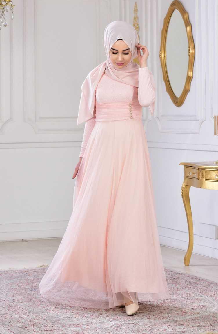 Sefamerve Tesettür Pudra Renk Abiye Elbise Modelleri