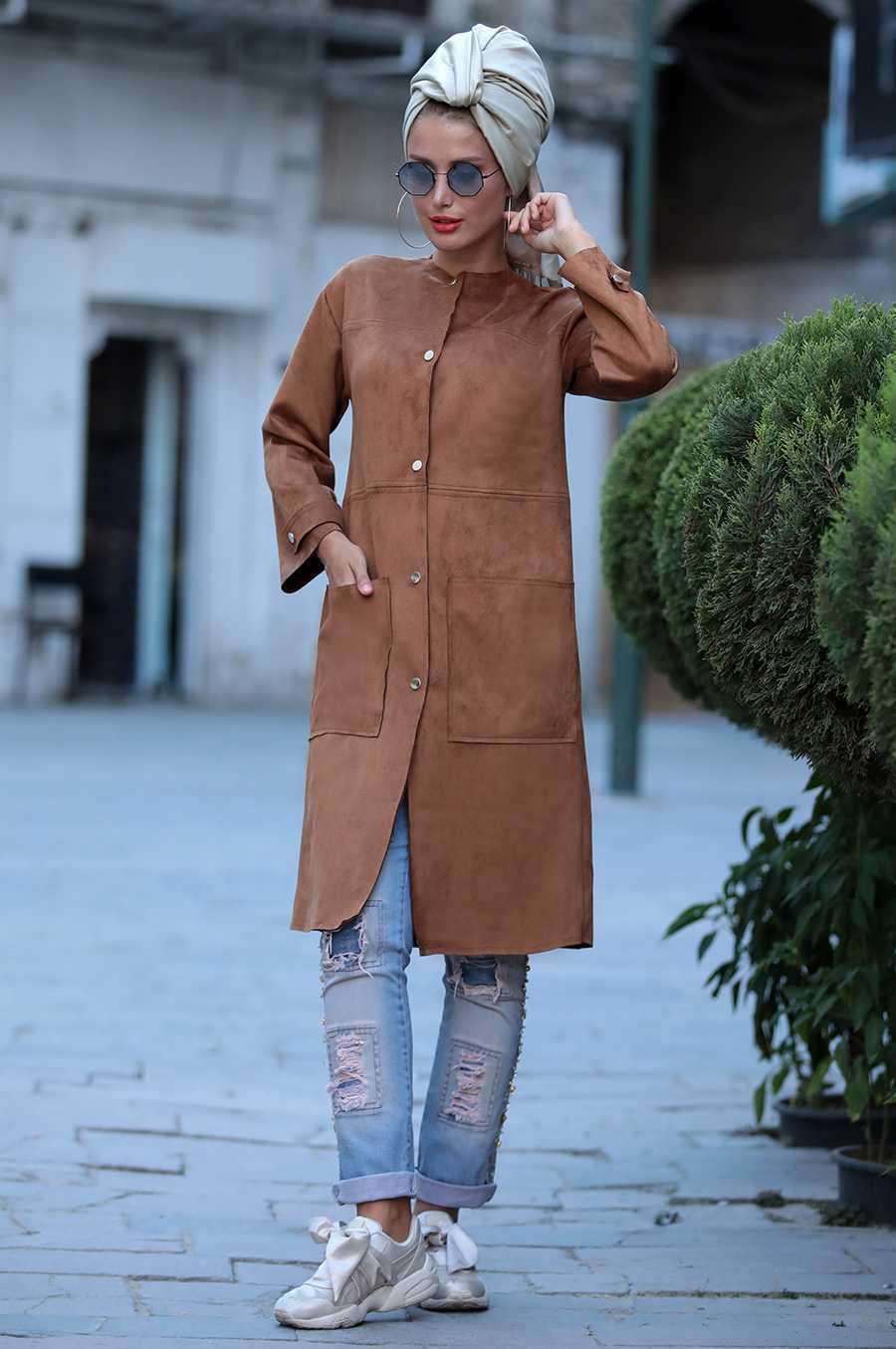 Selma Sarı Tesettür Süet Ceket Modelleri