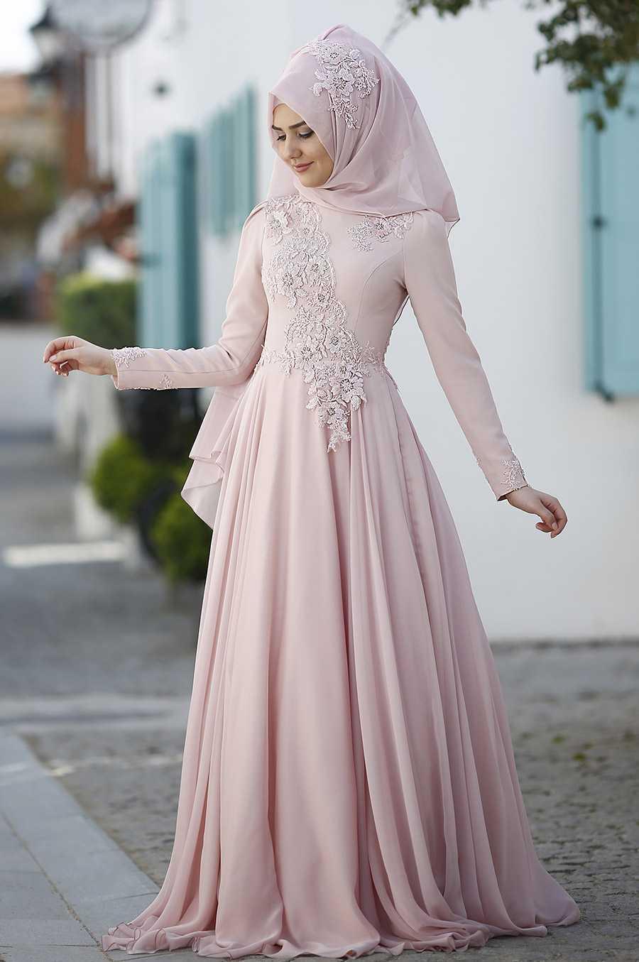 Som Fashion Tesettür Pudra Renk Abiye Modelleri
