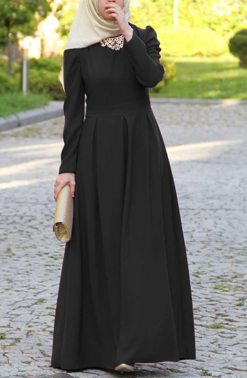 Suhneva Tesettür Siyah Prenses Elbise Modelleri