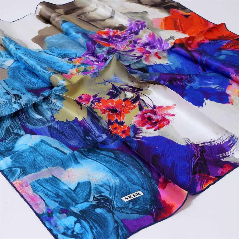 Çiçek Desenli Aker İpek Eşarp Modelleri
