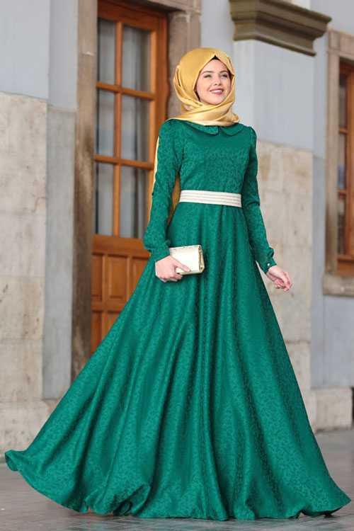 Şık Tesettür Jakarlı Elbise Modelleri
