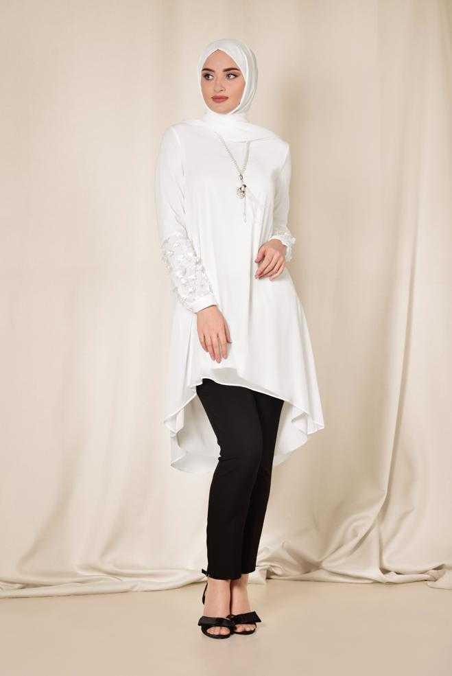 Alvina Üç Boyutlu Tesettür Beyaz Tunik Modelleri