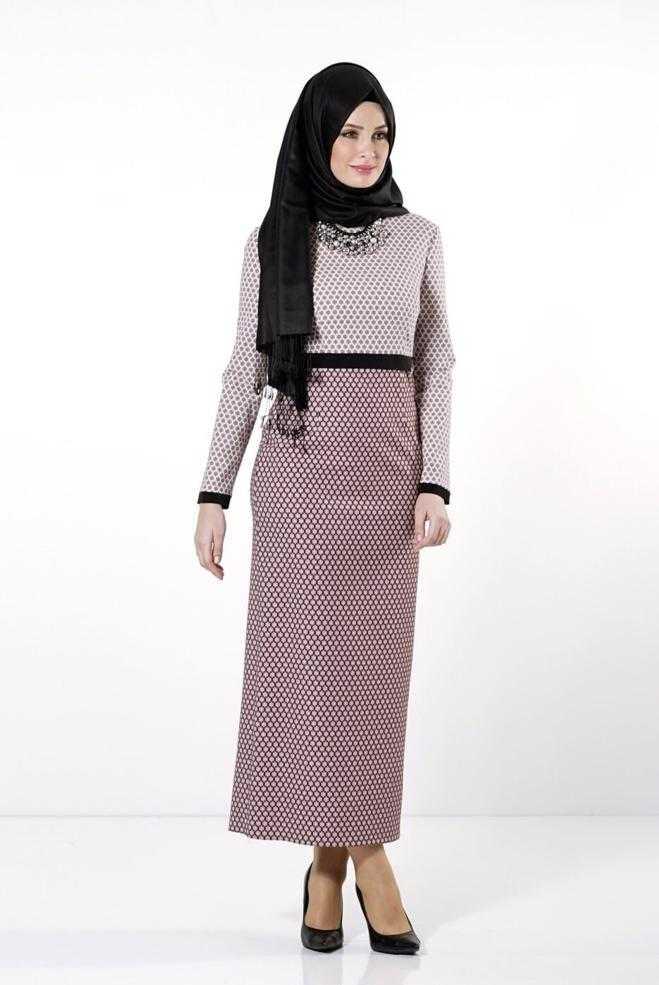 Alvina Şık Tesettür Jakarlı Elbise Modelleri