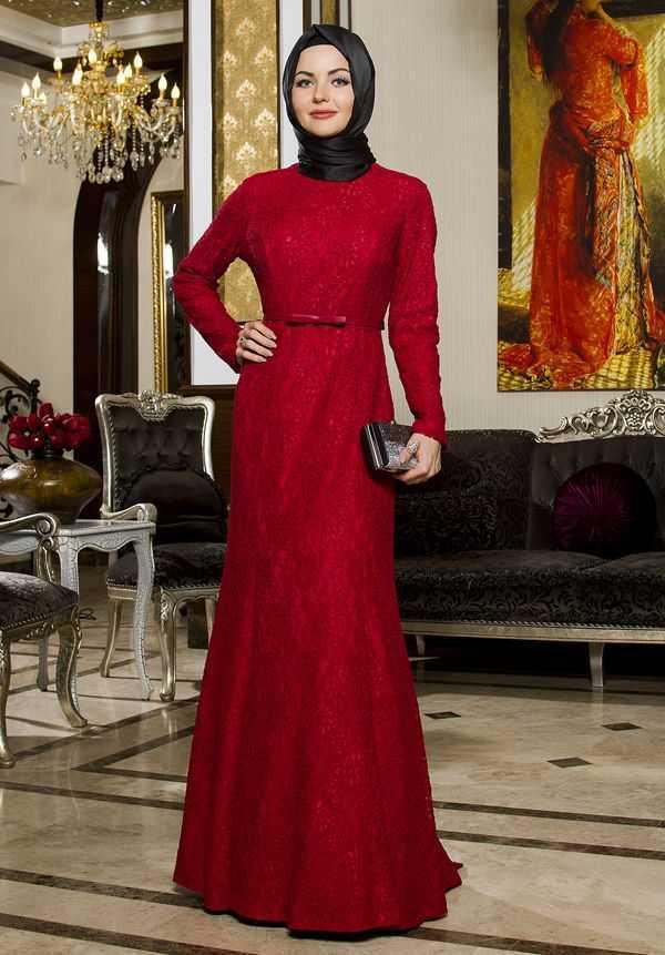 Alyadua Kırmızı Tesettür Balık Abiye Elbise Modelleri