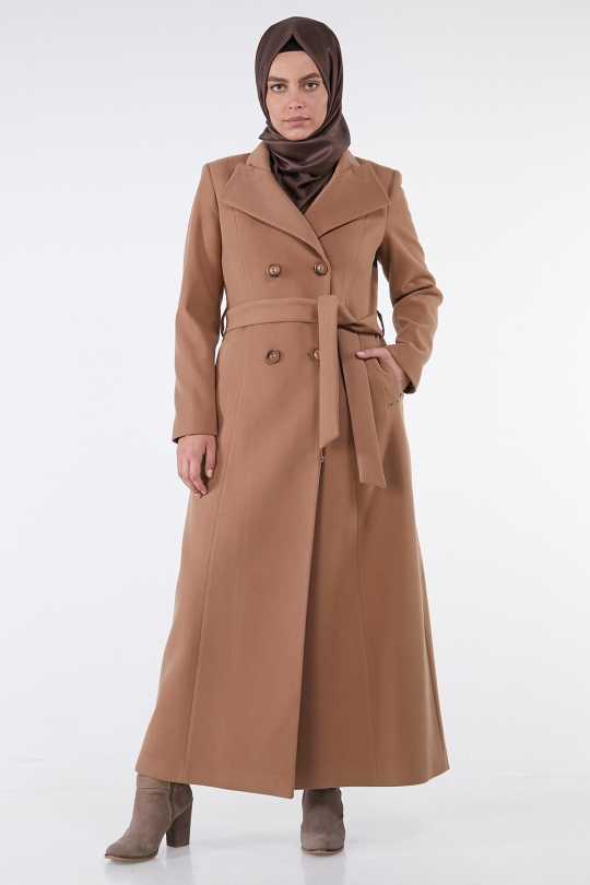 Armine Kışlık Kahverengi Kaşe Manto Modelleri