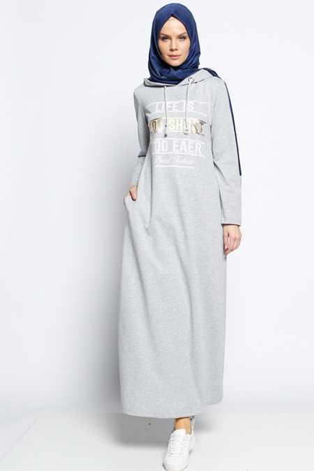 Bwest Tesettür Baskılı Elbise Modelleri