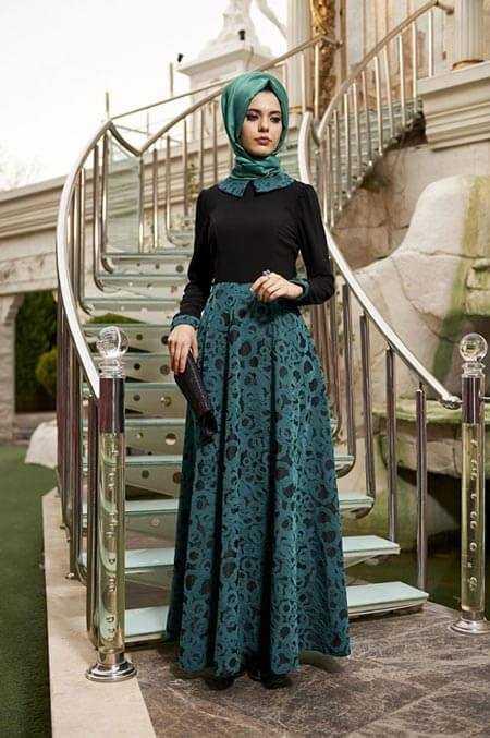 En Özel Tesettür Jakarlı Elbise Modelleri