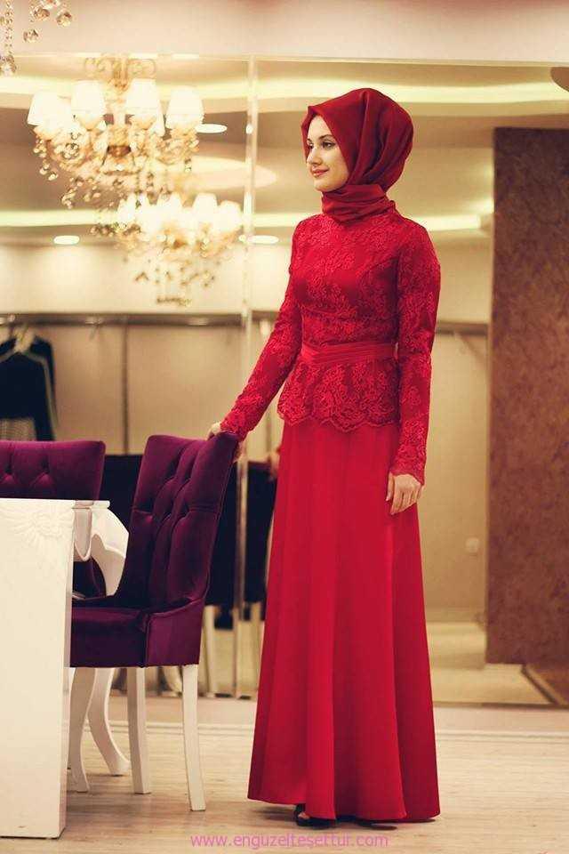 En Güzel Kırmızı Tesettür Abiye Elbise Modelleri