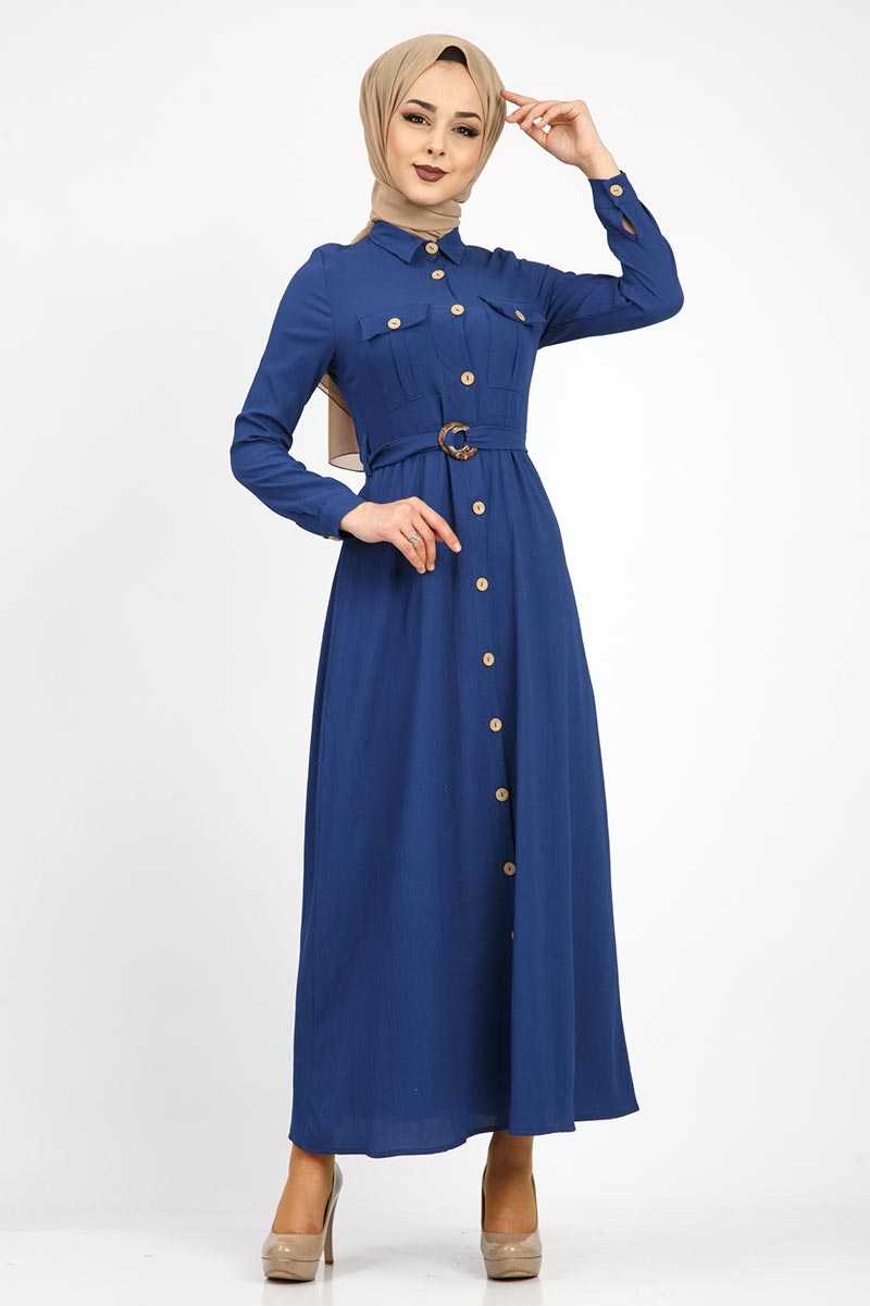 En Güzel Tesettür Dünyası Tokalı Elbise Modelleri