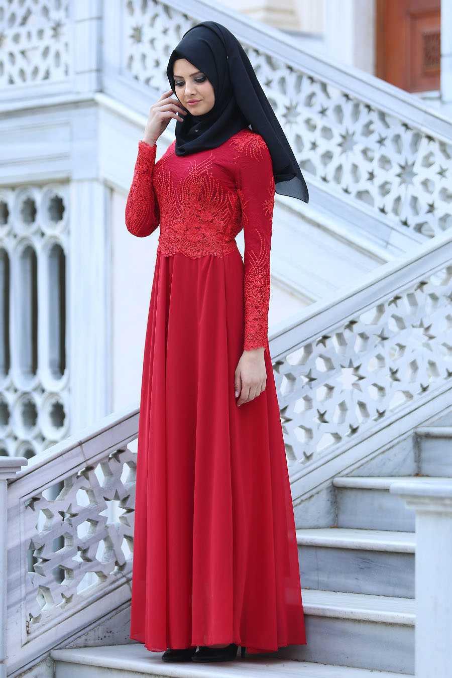Kırmızı Tesettür Abiye Elbise Modelleri