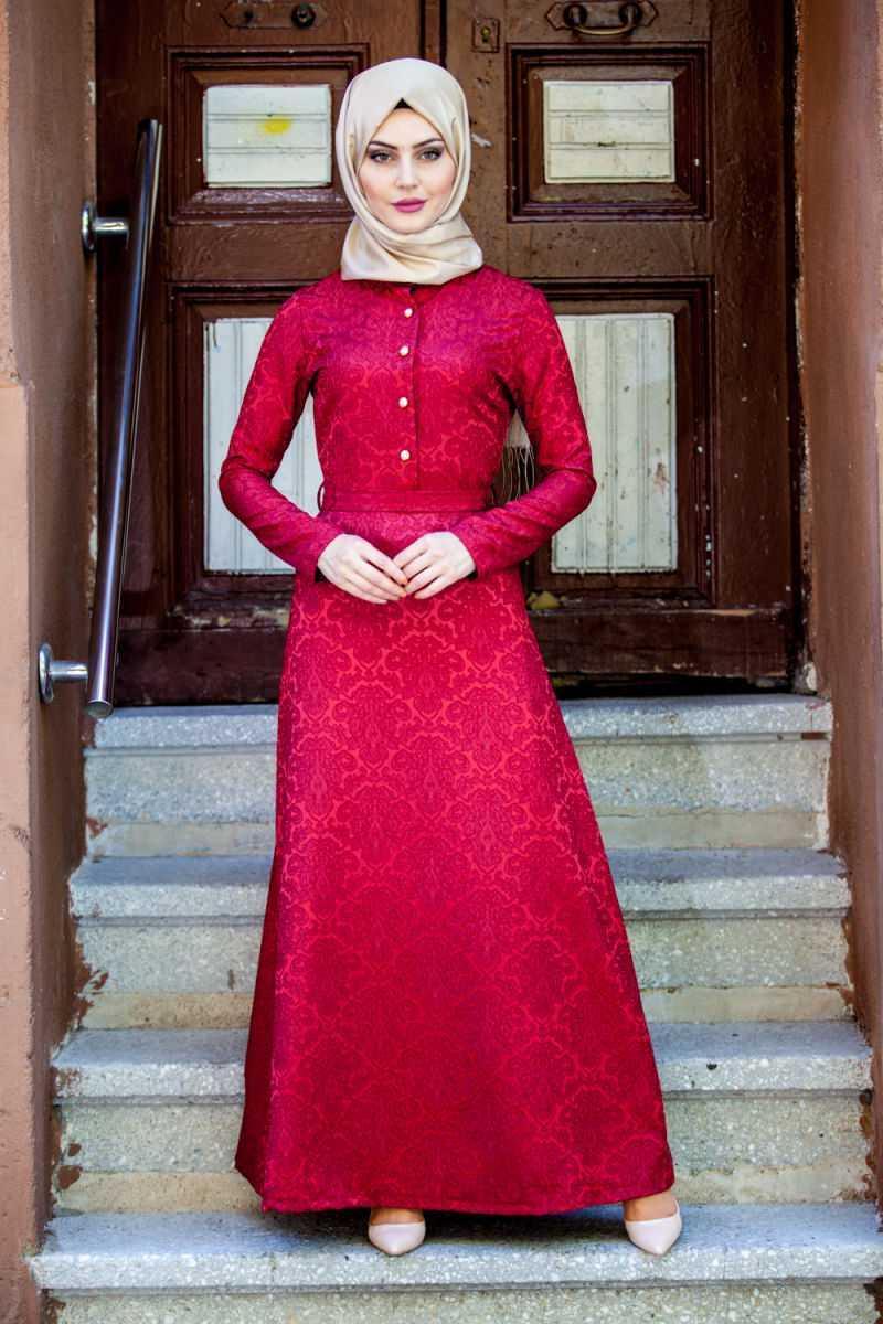 Tesettür Jakarlı Elbise Modelleri