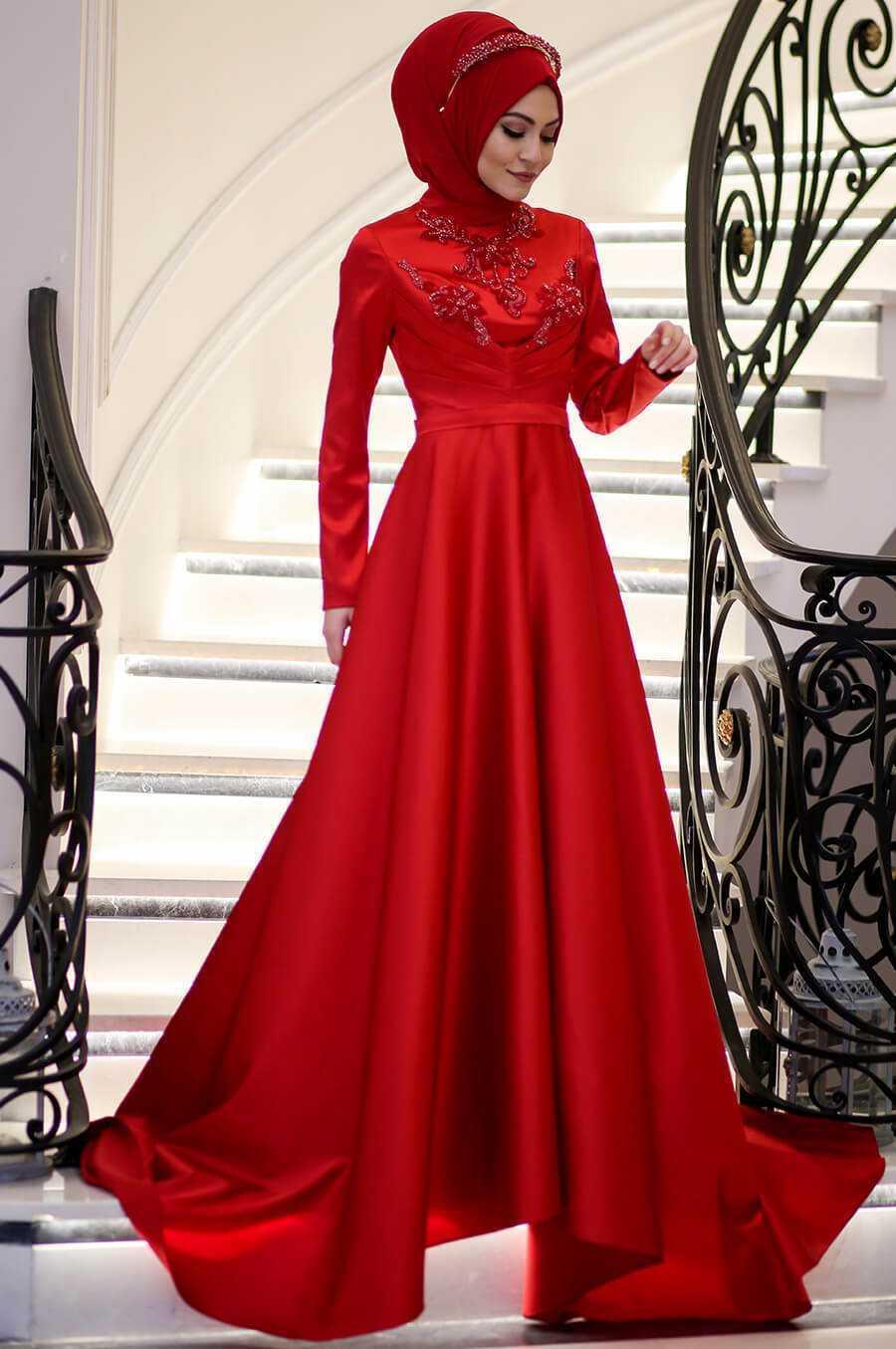 Minel Aşk Kırmızı Tesettür Abiye Elbise Modelleri