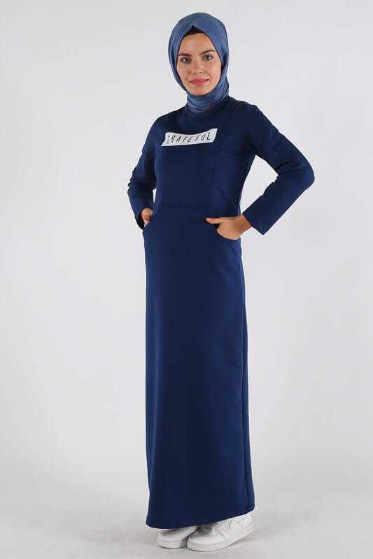 Moda Berfu Tesettür Baskılı Elbise Modelleri
