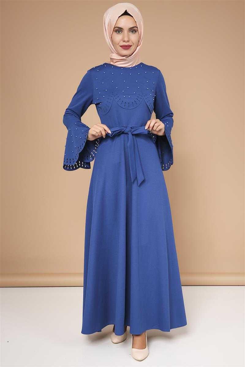 Moda Ebva Lazer Kesim Tesettür Şık Elbise Modelleri
