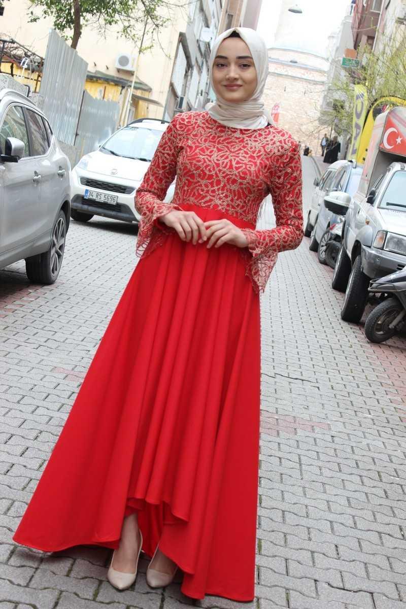 ModaOnur Dantelli Kırmızı Tesettür Abiye Elbise Modelleri