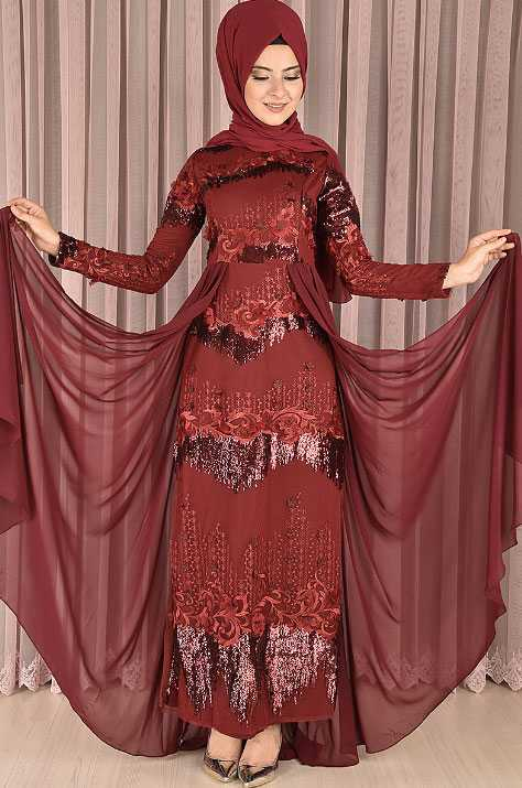 Modamerve Kırmızı Tesettür Abiye Elbise Modelleri