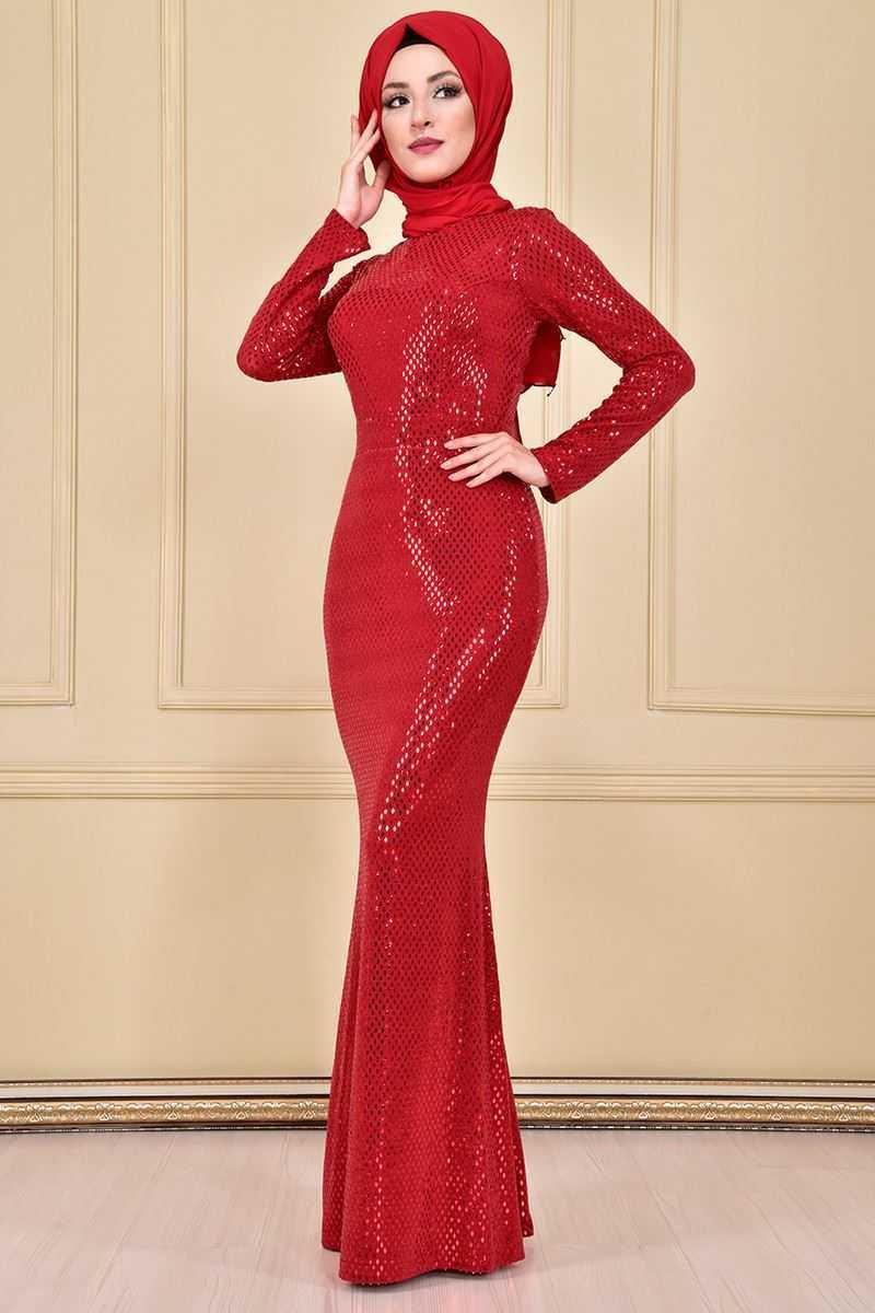 Modamerve Kırmızı Tesettür Balık Abiye Elbise Modelleri
