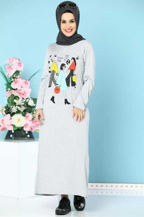Modanoiva Tesettür Baskılı Elbise Modelleri