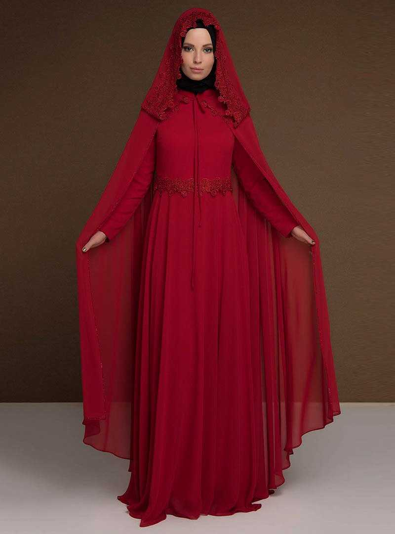 Modaysa Kırmızı Şifon Tesettür Abiye Elbise Modelleri
