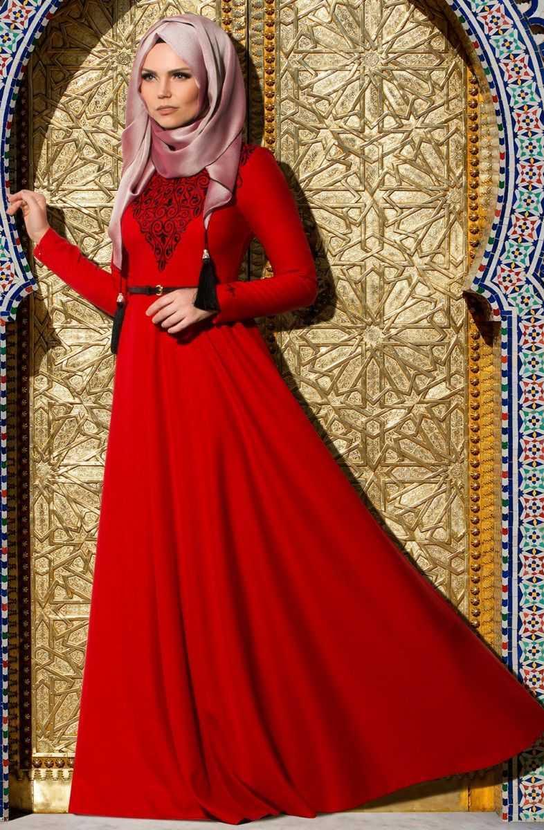 Muslima Wear Kırmızı Tesettür Abiye Elbise Modelleri