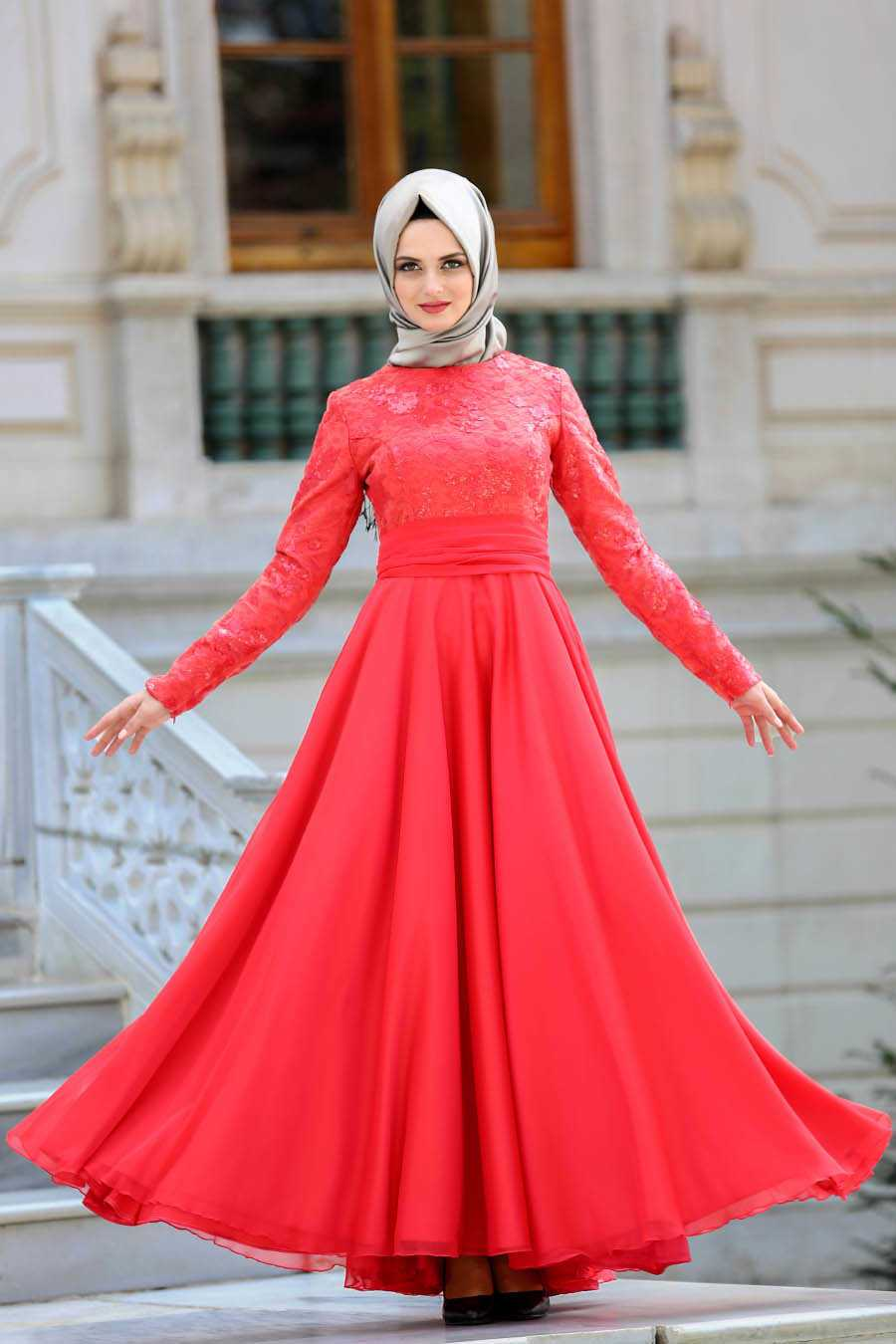 Neva Style Nervür Detaylı Kırmızı Tesettür Abiye Elbise Modelleri