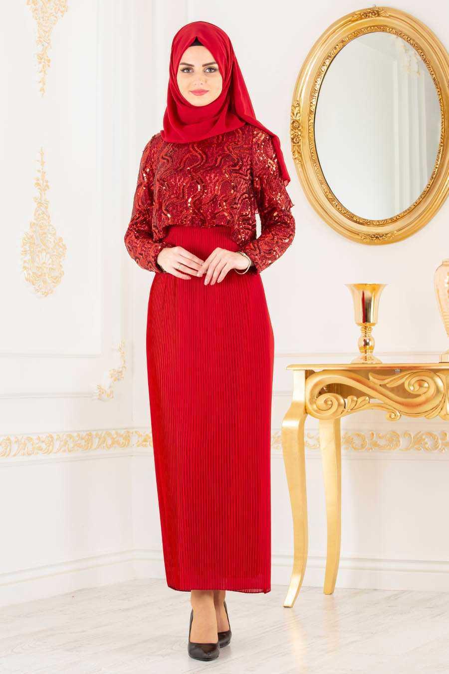 Neva Style Piliseli Kırmızı Tesettür Abiye Elbise Modelleri
