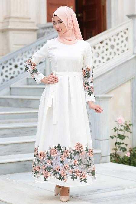Neva Style Tesettür Çiçek Baskılı Elbise Modelleri