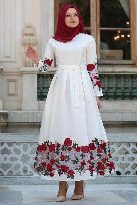 Neva Style Tesettür Baskılı Elbise Modelleri
