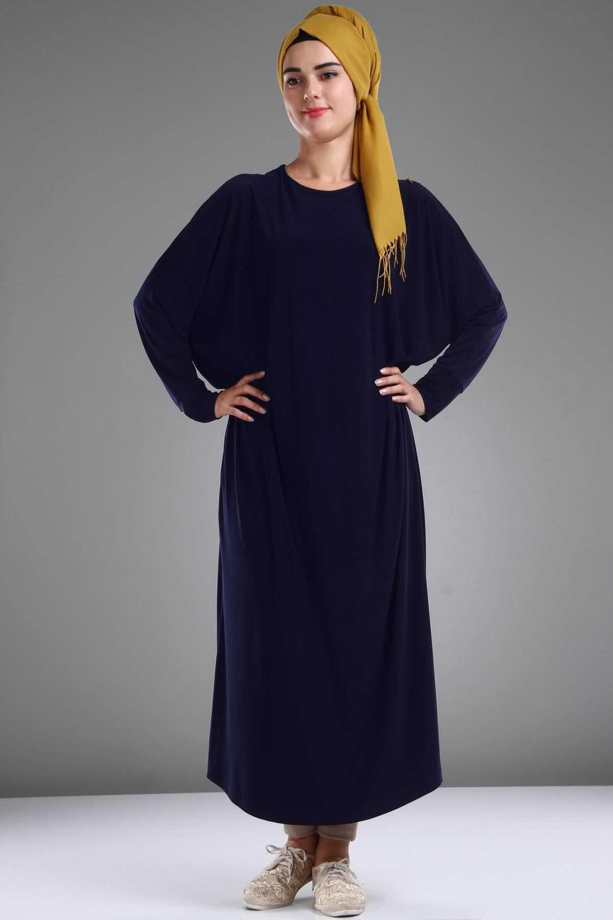 Patırtı Tesettür Yarasa Kol Şık Elbise Modelleri