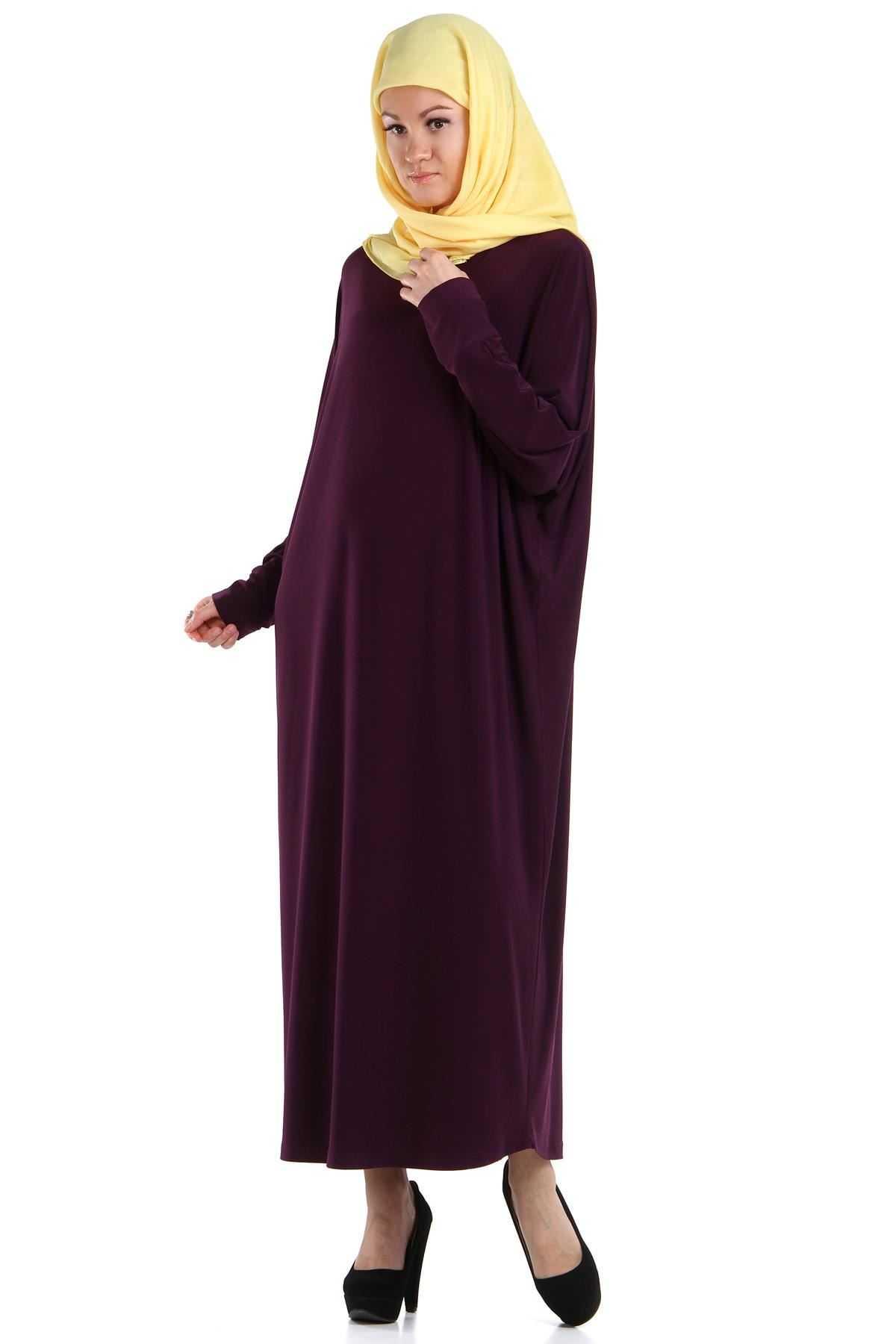 Patırtı Tesettür Yarasa Kol Elbise Modelleri