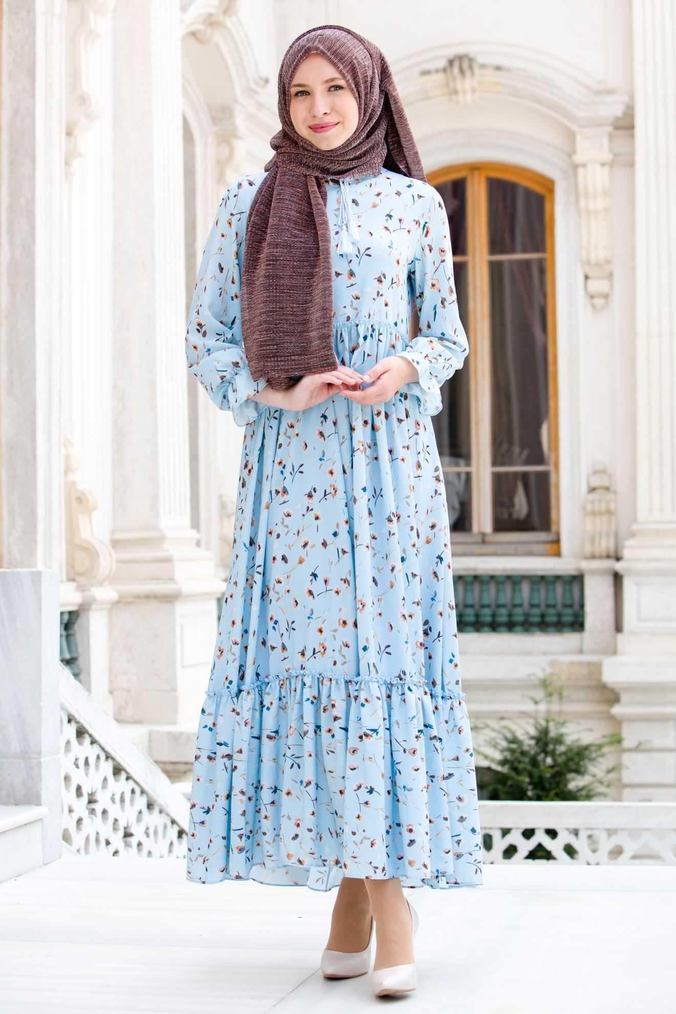 Sedanur Çiçek Baskılı Tesettür Elbise Modelleri