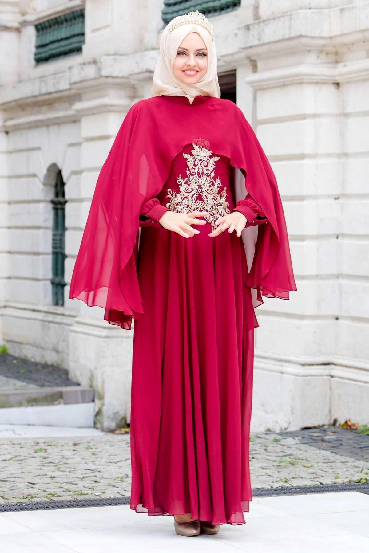 Sedanur İşlemeli Kırmızı Tesettür Abiye Elbise Modelleri