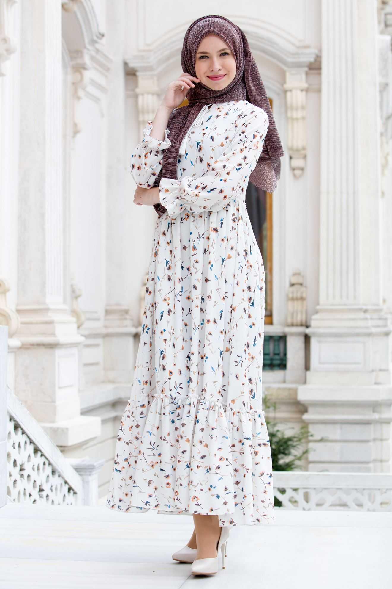 Sedanur Baskılı Tesettür Elbise Modelleri