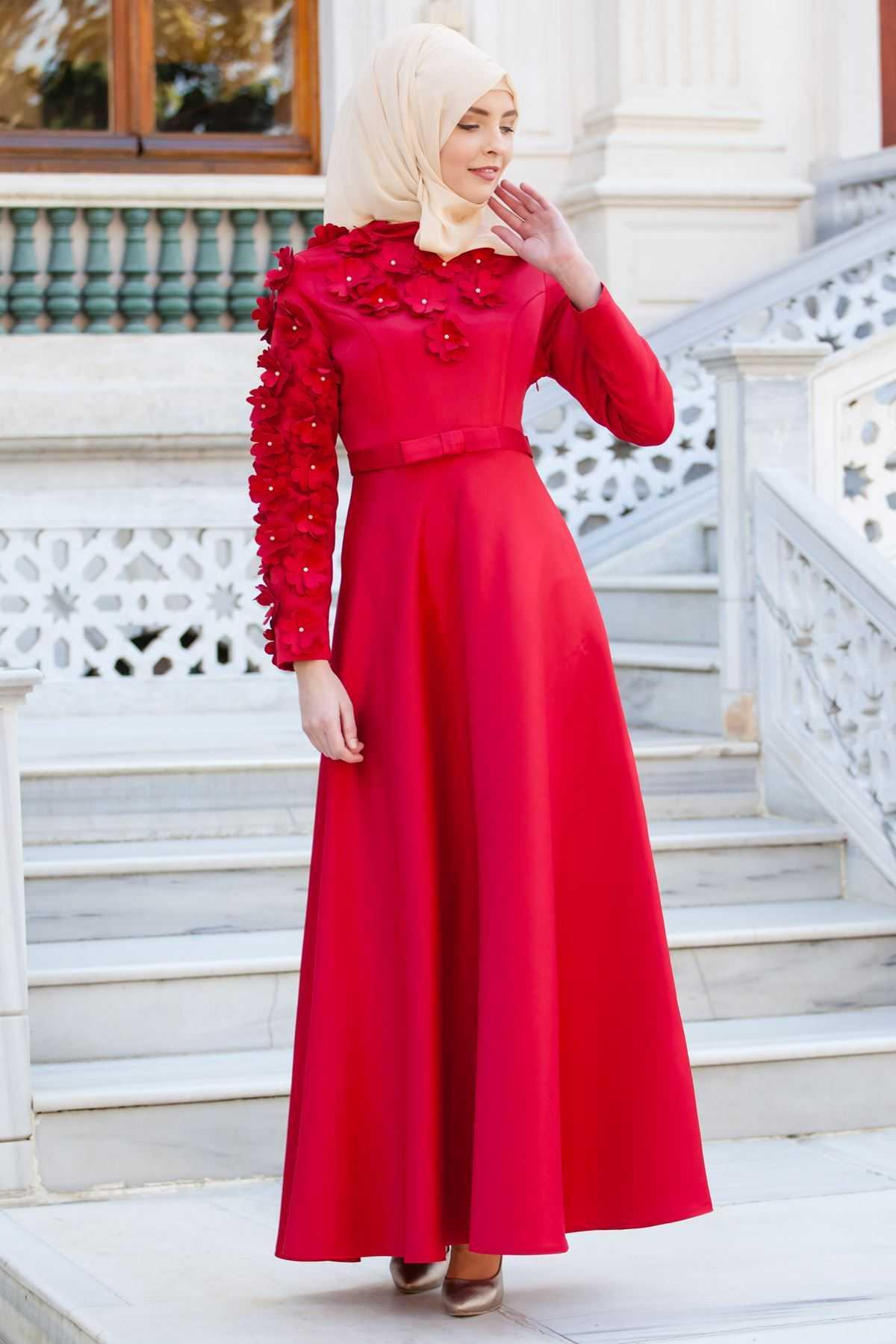 Sedanur Kırmızı Tesettür Abiye Elbise Modelleri