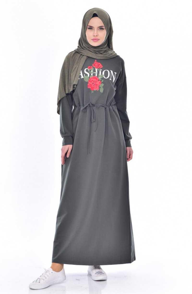 Sefamerve Baskılı Tesettür Elbise Modelleri